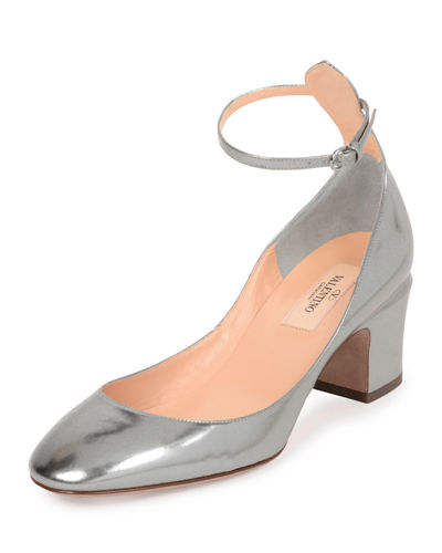 Metallic Leather 60mm Block-Heel Pump