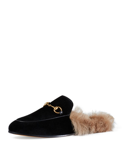 Princetown Fur-Lined Velvet Slipper