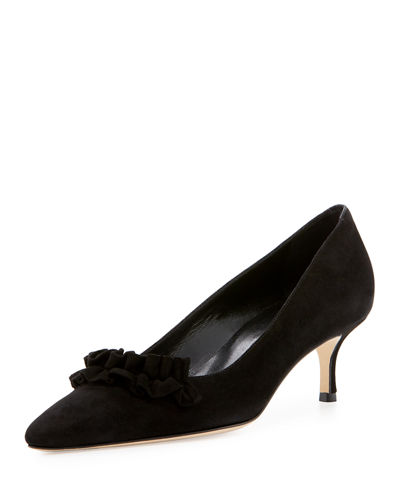 Gring Suede Ruffle-Trim Point-Toe Pump