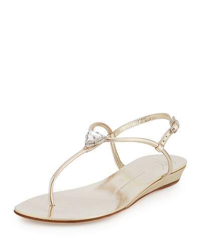 Jewel-Embellished Demi-Wedge Sandal