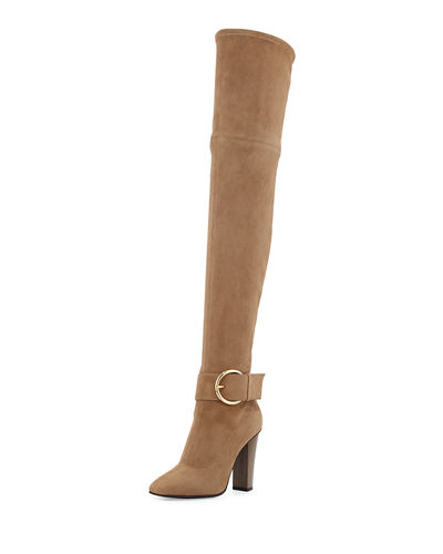 Stretch-Suede Over-the-Knee Buckle Boot