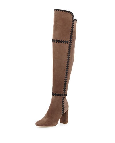 Sigerson Morrison Steele Embroidered Suede Over-the-Knee Boot