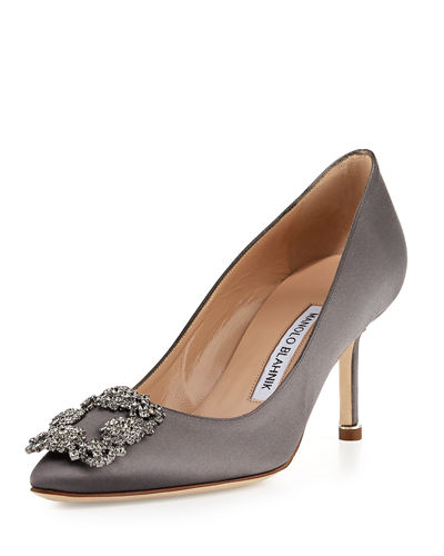 Hangisi Satin Crystal Buckle Pump