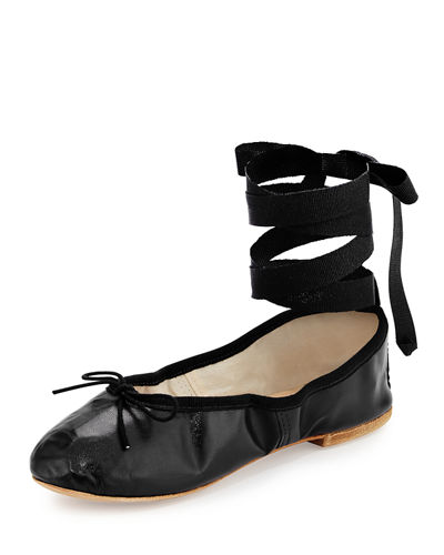 Street Ballerina Leather Ankle-Wrap Flat
