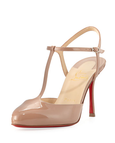 Me Pam Patent T-Strap 85mm Red Sole Pump