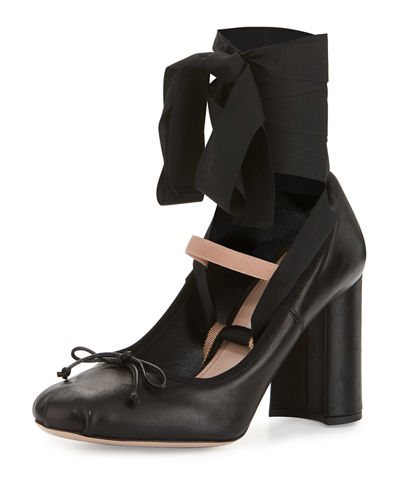 Leather Ankle-Wrap Mary Jane 85mm Pump