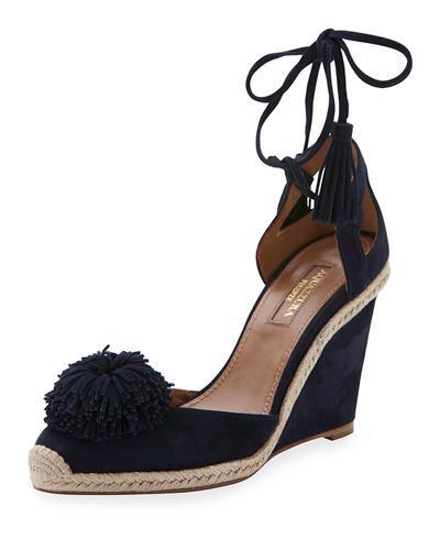 Aquazzura Sunshine Suede Wedge Espadrille