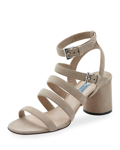 Suede Multi-Strap 65mm Sandal