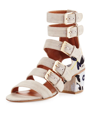NORA EMBROIDERED BUCKLE-STRAP SANDALS, STONE/BLUE