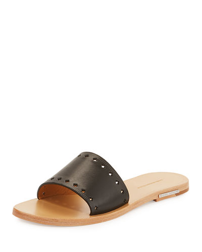 Jiany Flat Cutout Leather Mule Sandal