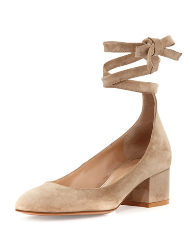 Petra Suede Ankle-Wrap 45mm Pump