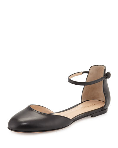 Leather d'Orsay Ankle-Strap Flat