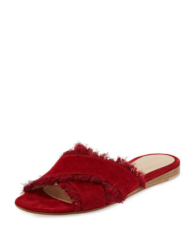 Gianvito Rossi Fringed Crisscross Sandal Slide