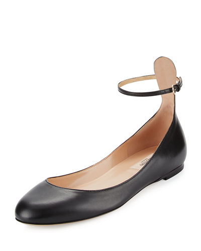 Tango Leather Ankle-Wrap Flat