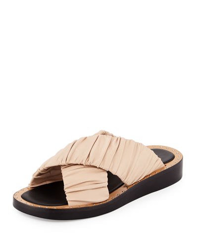 Nagano Ruched Leather Flat Slide Sandal