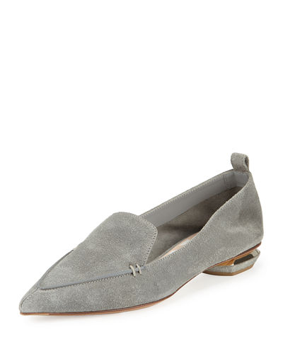 Nicholas Kirkwood Beya Suede Point-Toe Loafer