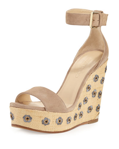 Lotus Embroidered Wedge Sandal