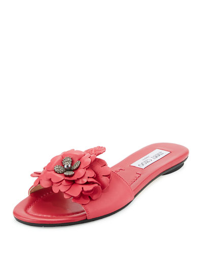 Neave Floral Leather Slide Sandal