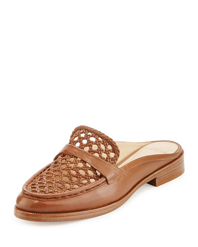 Alexa Woven Leather Mule Slide