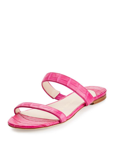 Frida Two-Strap Crocodile Flat Slide Sandal
