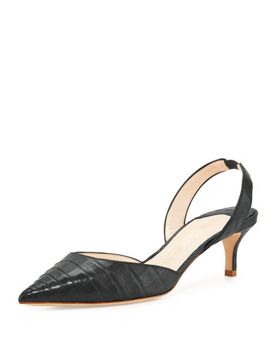 NANCY GONZALEZ Majita Crocodile Slingback Pump