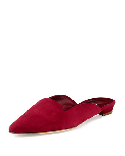 RASPBERRY SUEDE FLAT POINTTO