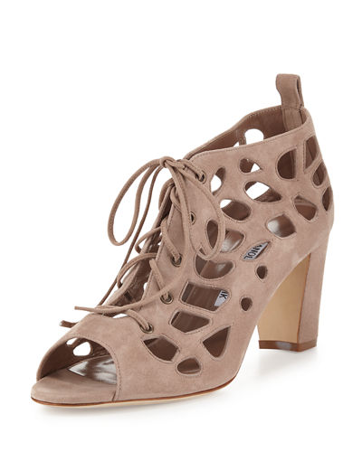 Gongola Suede Cutout Lace-Up Pump