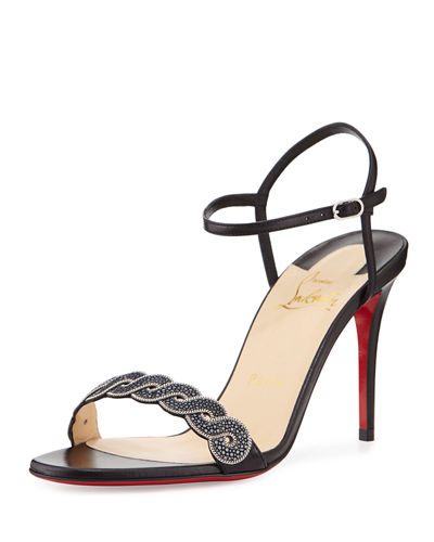 Grekoronda Shagreen-Embossed Red Sole Sandal