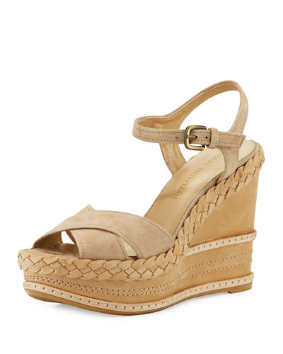 Sundry Denim Platform Wedge Sandal