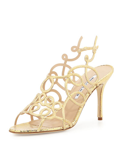 Gori Metallic Swirly Suede Sandal