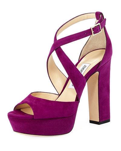 April Suede Crisscross 120mm Sandal