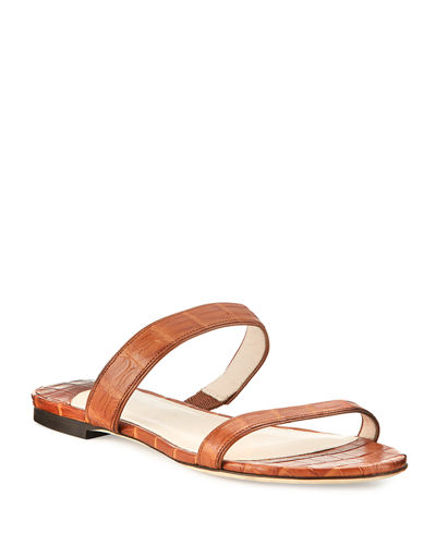 Nancy Gonzalez Frida Two-Strap Crocodile Flat Slide Sandal
