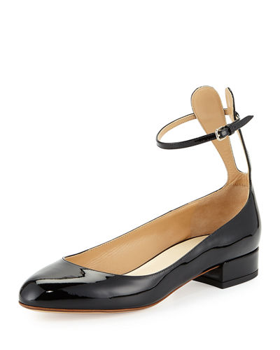 Francesco Russo Patent Ankle-Strap Ballerina Flat with Bunny