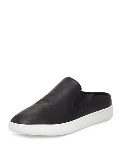 Verrell Leather Open-Back Skate Sneaker, Black