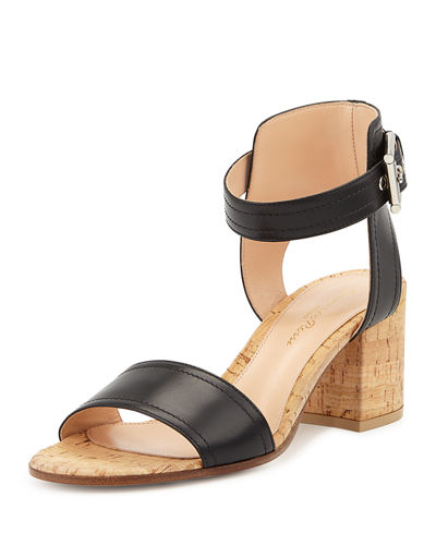 Leather Cork Block-Heel Sandal