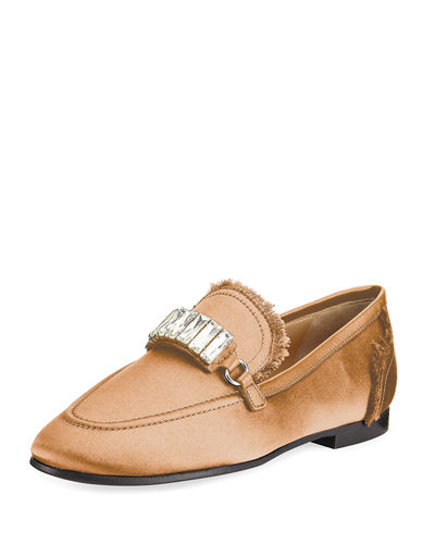 Frayed Satin Loafer w/Jewel Strap