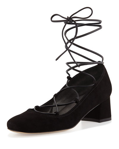 Cordon Lace-Up Ballerina Pump