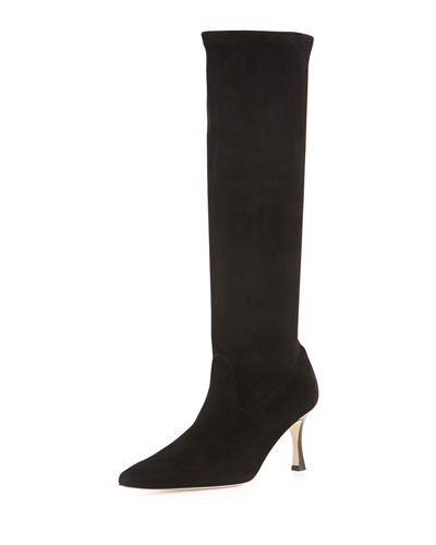 Pascalare Stretch-Suede Point-Toe Knee Boot