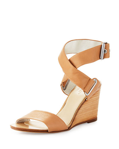 Damien Leather Wedge Sandal, Nude