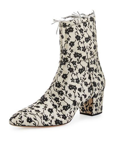Callie Floral Jacquard Ankle Boot