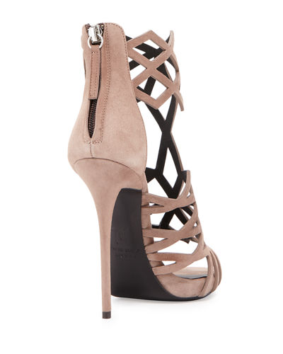 Suede Diamond-Cut Cage Sandal
