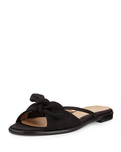 April Bow Satin Slide Sandal