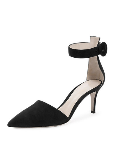 Suede Point-Toe Ankle-Wrap Sandal