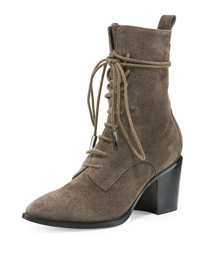 Duran Lace-Up Block-Heel Boot, Anthracite