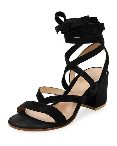 Strappy Suede Ankle-Wrap Sandal