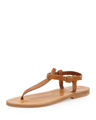 K. Jacques Leather T-Strap Flat Sandal