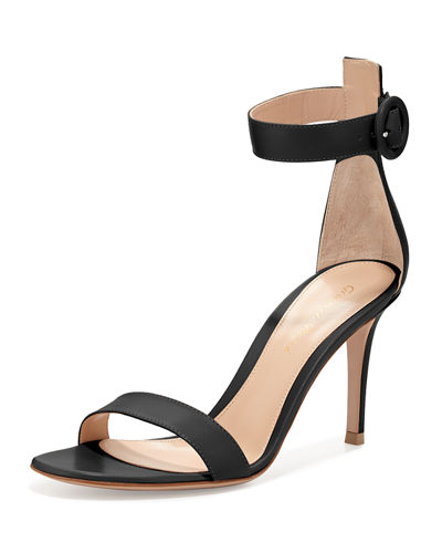 Gianvito Rossi Portofino Leather Ankle-Strap 85mm Sandal