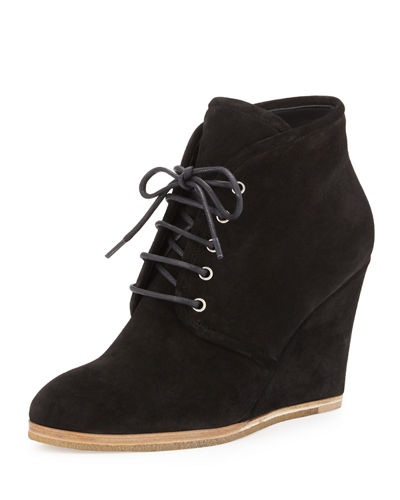 Suede Lace-Up Desert Wedge Boot