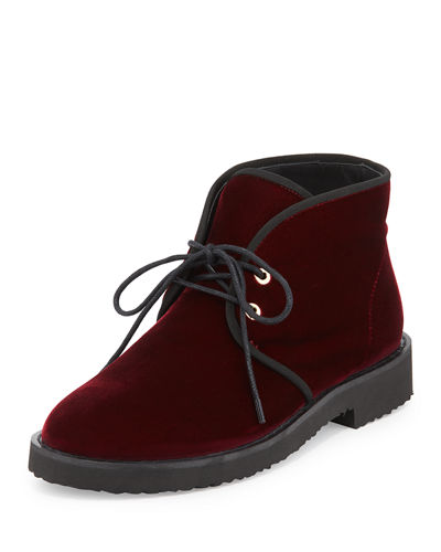 Lace-Up Velvet Desert Boot