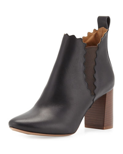Chloe Scalloped Leather Chelsea Boot